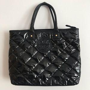 Tory Burch black quilted puffer tote bag
